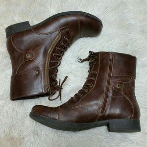 G by Guess Women's Brown Zipper Combat Boots